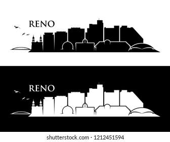 Reno skyline - Nevada United States of America USA - vector illustration
