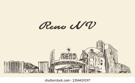 Reno skyline, Nevada, United States, USA, hand drawn vector illustration, sketch