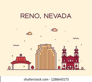 Reno skyline, Nevada, USA. Trendy vector illustration, linear style