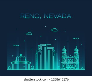 Reno skyline, Nevada, USA. Trendy vector illustration, linear style