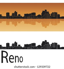 Reno skyline in orange background in editable vector file