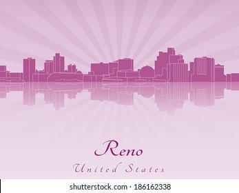 Reno skyline in purple radiant orchid in editable vector file