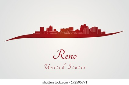 Reno skyline in red and gray background in editable vector file