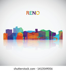 Reno skyline silhouette in colorful geometric style. Symbol for your design. Vector illustration.