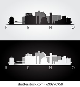 Reno USA skyline and landmarks silhouette, black and white design, vector illustration.