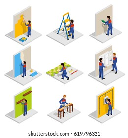Renovation isometric icons set with paint and redecoration symbols isolated vector illustration