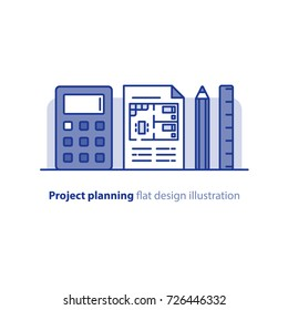 Renovation project, home improvement, interior design solution, blueprint concept, vector illustration