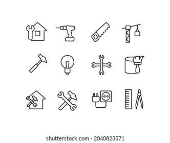 Renovation, repair, dril, construction cran, hammer simple thin line icon vector illustration