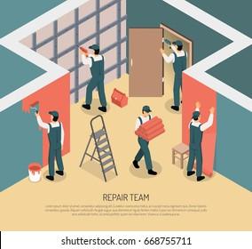 Renovation repair team working in room 3d isometric vector illustration