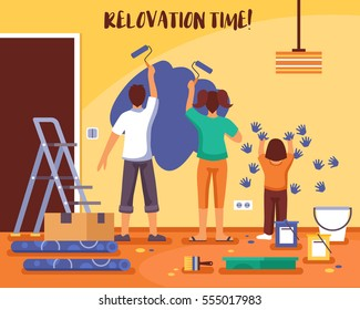 Renovation time flat vector illustration with family of man woman and child repainting room walls by rollers