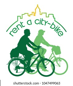 Rent a bike. Sign for bicycle rentals. Cycling people, man and woman on a summer bicycle tour in the city.