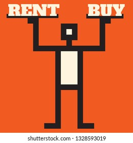 To rent or to buy - simple decision making illustrayion