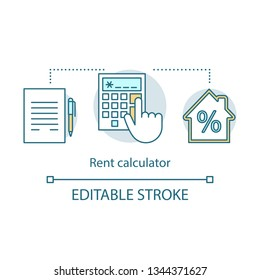 Rent calculator concept icon. Rental prices, interest rates. Property deal. Hand with calculator, contract, house. Total price idea thin line illustration. Vector isolated drawing. Editable stroke