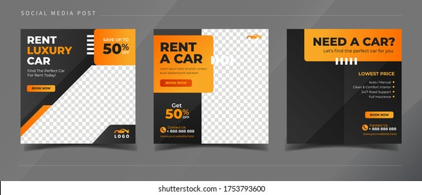 Rent car banner for social media post template