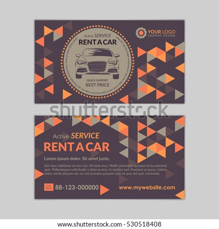 Rent Car Business Card Template Abstract Stock Vector Royalty Free