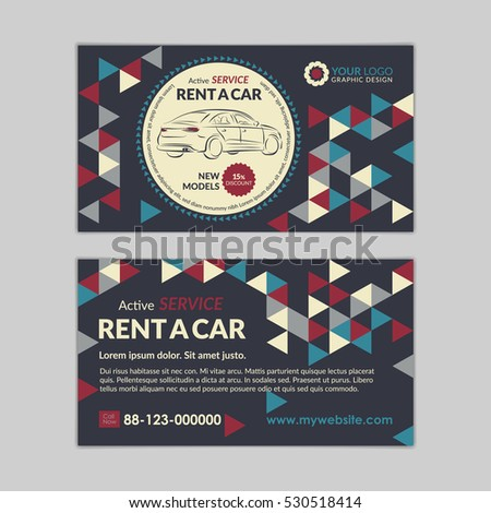 Rent car business card template abstract stock vector royalty free rent a car business card template with abstract geometry pattern triangle backgrounds auto service mockup cheaphphosting Choice Image
