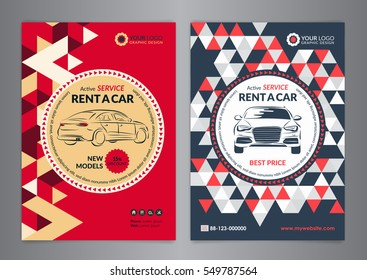 Rent a car business flyer template. Auto service Brochure templates, automobile magazine cover, size A4, abstract triangle Modern Backgrounds. Vector illustration.