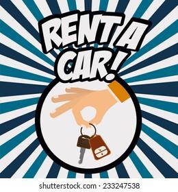 Rent a car design over Colorful stripes background, vector illustration.