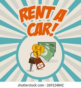 Rent a car design over striped background, vector illustration