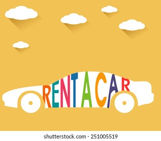 rent a car, flat color with clouds  long shadow illustration - vector eps10