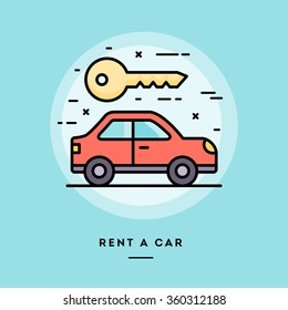 Rent a car, flat design thin line banner, usage for e-mail newsletters, web banners, headers, blog posts, print and more