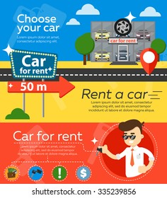 Rent a car flat design web banners elements. Car key and car hire leasing, test drive.