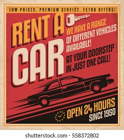 Rent a car retro poster design on old paper texture. Transportation vintage flyer design with classic car side view silhouette on red background. Vector illustration.