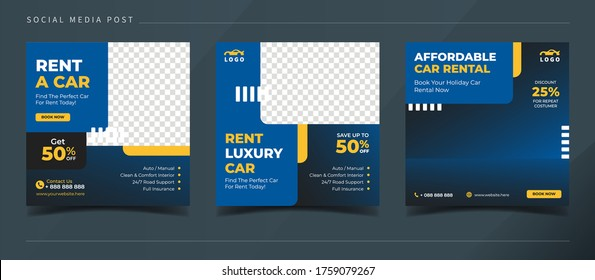 Rent a car square banner for social media post template