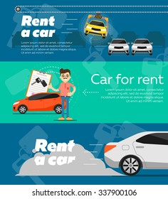 Rent a car. Trading Car in flat design web banners elements. Car key. Car hire.