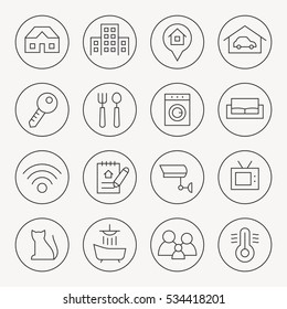 Rent home thin line icon set
