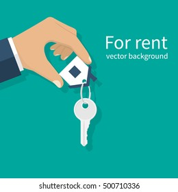 For rent house, concept. Real estate agent holds the key from the home.  Template for sale, rent home. Vector illustration flat design.