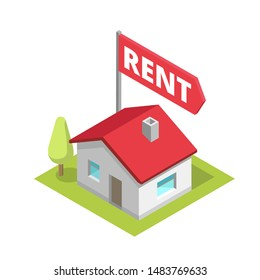 Rent a house. Isometry building cottage. Text flag title. Real estate property rental. Vector flat color Illustration.