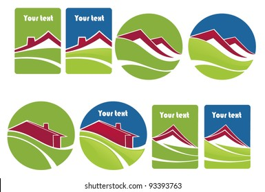 rent a house, vector collection of property stickers