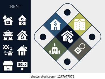 rent icon set. 13 filled rent icons. Simple modern icons about  - House, Sold, Mortgage, Apartments, Skyscrapper, Key chain