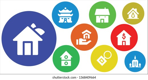 rent icon set. 9 filled rent icons.  Simple modern icons about  - House, Key chain, Skyscrapper