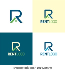 Rent Letter R  Real Estate Logo and Icon - Vector Illustration