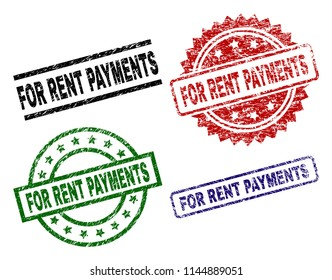 FOR RENT PAYMENTS seal prints with damaged style. Black, green,red,blue vector rubber prints of FOR RENT PAYMENTS caption with dust style. Rubber seals with round, rectangle, medal shapes.