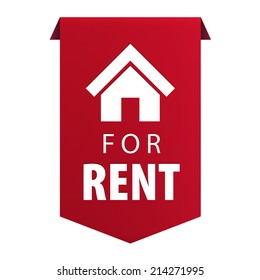 For Rent ribbon banner icon Real estate symbol isolated on white background. Vector illustration