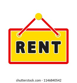 For rent sign board. rented car, apartment or house, rental property, real estate concept
