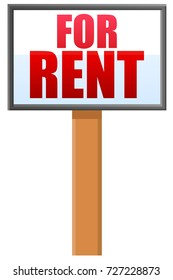 For rent sign post vector icon