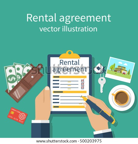 Rental Agreement Form Contract Signing Document Stock Vector