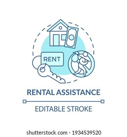 Rental assistance concept icon. Monetary help by government idea thin line illustration. Rental subsidy and security deposits. Vector isolated outline RGB color drawing. Editable stroke