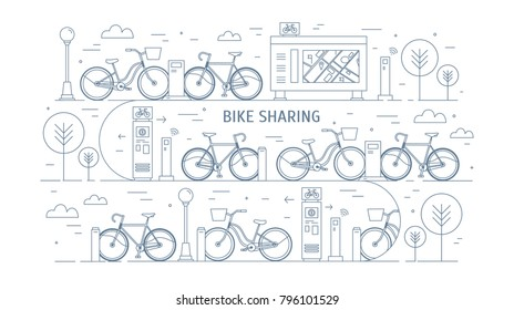 Rental bikes parked at docking stations on city street, electronic payment terminals, map stand and trees. Concept of public bicycle sharing or rent. Monochrome vector illustration in line art style.