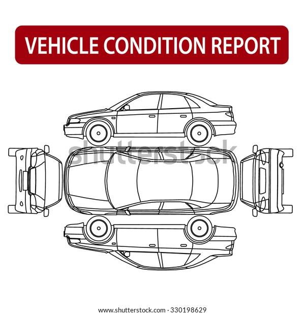 Rental Car Condition Form Vehicle Checklist Stock Vector Royalty