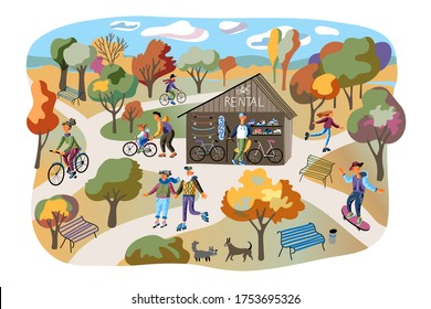 Rental park flat vector illustration. People riding bicycle, roller skaters, skateboard cartoon characters. Active rest isolated on white background. Autumn parkland with benches design element
