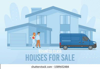 Rental Real Estate Banner with Cartoon Smiling Man and Woman Couple New Property Owner Arriving to Townhouse in Countryside. Van from Delivery Home Moving Service in Yard. Vector illustration