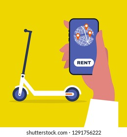 Renting an electric scooter. Hand holding a mobile phone. Urban  transportation. Modern technologies. Millennial lifestyle. Flat editable vector illustration, clip art