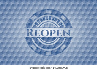 Reopen blue emblem with geometric background. Vector Illustration. Detailed.
