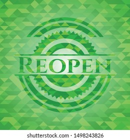 Reopen realistic green emblem. Mosaic background. Vector Illustration. Detailed.