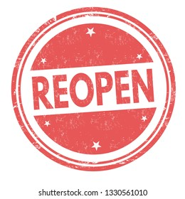 Reopen sign or stamp on white background, vector illustration